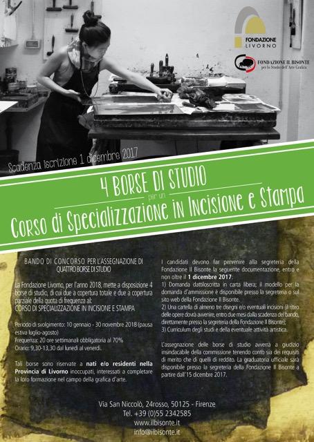 Quattro borse di studio per il corso in incisione e stampa della Scuola Internazionale di Grafica d'Arte Il Bisonte di Firenze
