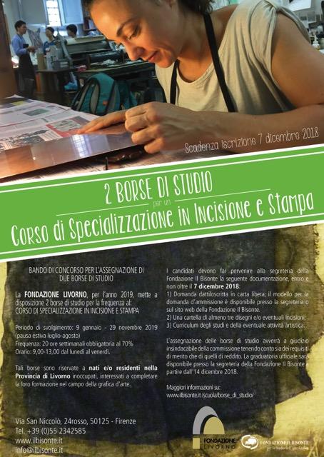 Due borse di studio per la scuola di grafica d'arte Il Bisonte di Firenze